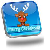 Renar som merry christmas-knappen — Stockfoto