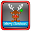 Reindeer wishing Merry Christmas button — Stockfoto