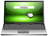 Laptop with internet web search engine hotels — Stock Photo
