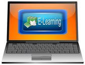 Laptop met e-learning — Stockfoto