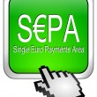 SEPA - Single Euro Payments Area - Button with cursor — Stock Photo #35048419