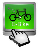 E-Bike Button with Cursor — Zdjęcie stockowe