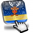 Reindeer wishing Merry Christmas Button with cursor — Stock Photo