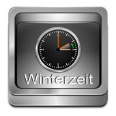 Winter time button — 图库照片