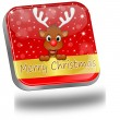 Reindeer wishing Merry Christmas Button — Stock Photo