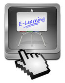 E-Learning Button with cursor — Zdjęcie stockowe