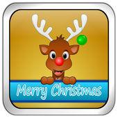Renifer chcą Wesołych Świąt przycisk — Zdjęcie stockowe