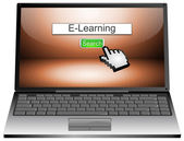 Laptop with internet web search engine e-learning — Stock fotografie
