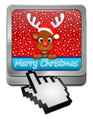 Reindeer wishing Merry Christmas Button with cursor — 图库照片
