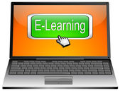 Laptop met e-learning knop — Stockfoto