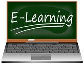 ноутбук с e обучения — Стоковое фото
