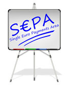 SEPA - Single Euro Payments Area - on whiteboard — Stock Photo