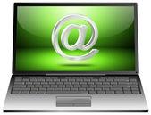 Přenosný počítač s e-mailem symbol 3d — Stock fotografie