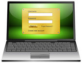 Laptop Computer with Login screen — Stock Photo
