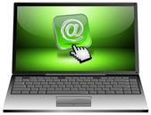 便携式计算机与电子邮件按钮 — 图库照片