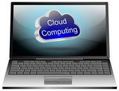 Laptop cloud computing — Stockfoto