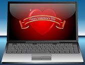 Laptop with Valentine's Day Greeting card Happy Valentine's Day — Stock Photo