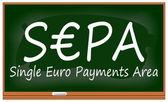 SEPA - Single Euro Payments Area on chalkboard — Stock Photo