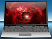 Laptop with Valentine's Day Greeting card — Stock Photo