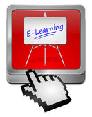 E-learning Button with Cursor — ストック写真