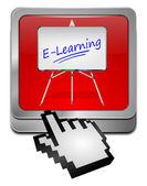 E-learning tlačítko s kurzorem — Stock fotografie