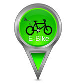 Map pointer with E-Bike — Stock Photo