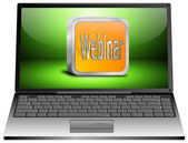 Laptop with webinar — Stok fotoğraf