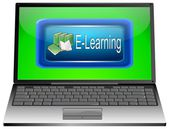 Laptop with E-Learning — Stockfoto