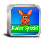 Button Easter Special with easter bunny — Stock Photo