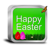 Happy easter button with easter eggs — Stock fotografie