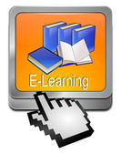 E-Learning Button with Cursor — Stock Photo
