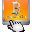 Stock Photo: Bitcoin accepted here button with cursor