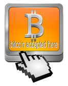 Bitcoin accepted here button with cursor — Stock Photo