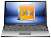 Laptop with webinar — Stock Photo