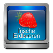 Button fresh strawberry - in german — 图库照片