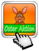 Button Oster Aktion with easter bunny and cursor in german — 图库照片