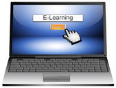 Laptop with internet web search engine e-learning — Stock Photo