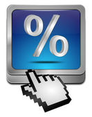 Discount button with percent Symbol with cursor — Stock Photo