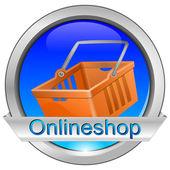 Boutique en ligne de bouton avec panier — Photo