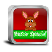 Button Easter Special with easter bunny — Stok fotoğraf