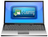 Ordenador portátil con e-learning — Foto de Stock