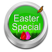 Button Easter Special with easter eggs — Stock Photo