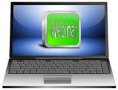 Laptop mit webinar — Stockfoto