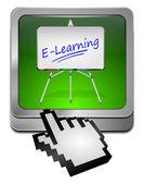 E-lärande-knappen med markören — Stockfoto