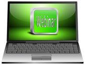 Laptop with webinr — Stock Photo
