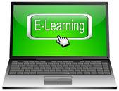 Laptop med e-lärande-knappen — Stockfoto