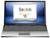 Laptop mit internet search engine browser-fenster — Stockfoto