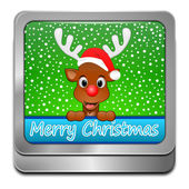 Reindeer wishing Merry Christmas Button — Stock Photo