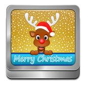 トナカイ希望メリー クリスマス ボタン — ストック写真