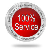 100 percent service button — 图库照片
